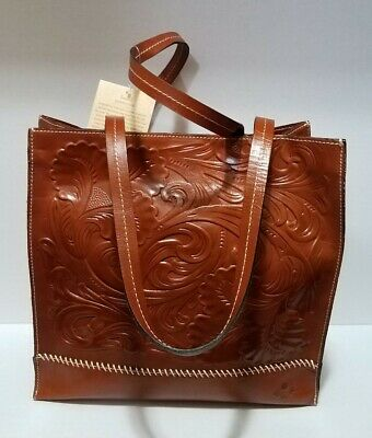 $199 Patricia Nash Brown Heritage Collection Toscano Shopper Leather Tote ~M3020