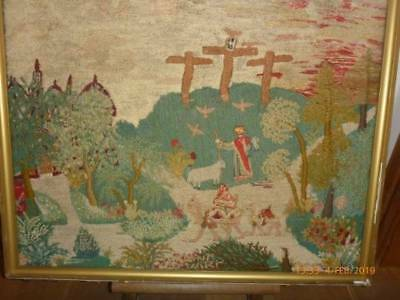 Superb Antique Needlework Mount Calvary Wool Silk Highlights