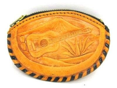 Leather Zip Top Change Purse Hand Stitched Mexico & Guitar Desert Design 3.5 in