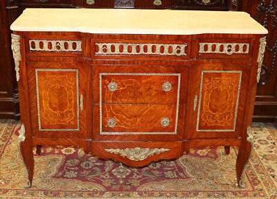 Superb Inlaid Bronze & Marble Top Walnut French Commode Dresser Buffet Restored