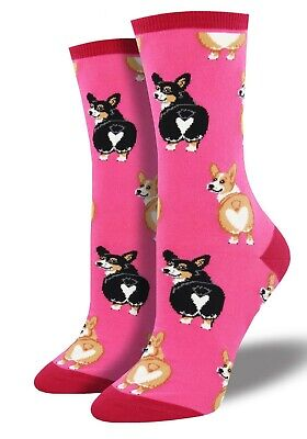 a83f8381fc1 Corgi Butt Dog Crew Socks - Socksmith NEW funky Pink multi Novelty Socks