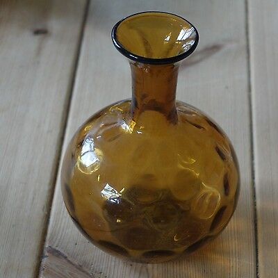 Vintage amber dimpled effect glass vase