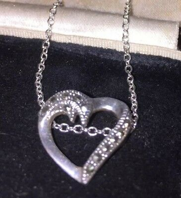 Vintage Jewellery very pretty sterling silver & Marcasite heart pendant & chain