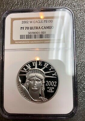 2002-W 1 oz American P$100 PROOF PLATINUM EAGLE PF70 NGC Brown Label