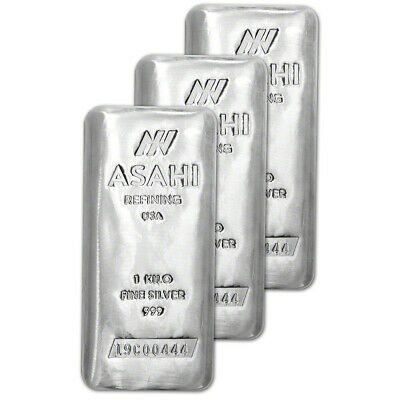 THREE (3) Kilo 32.15 oz Silver Bar - Asahi Refining .999 Fine