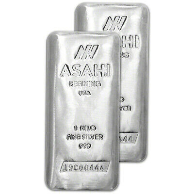 TWO (2) Kilo 32.15 oz Silver Bar - Asahi Refining .999 Fine