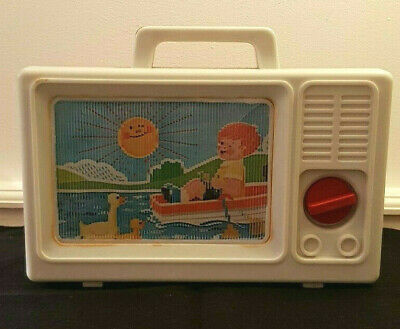 Vintage 1970's Portable TV Toy Wind-Up Music Box - Great retro display piece!