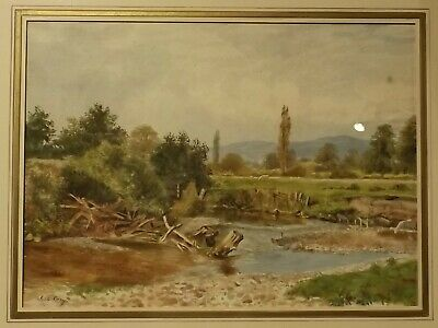 PAIR OF LANDSCAPE WATERCOLOR PAINTING  Circa 1900 by C L CARY WITH OLD LABEL