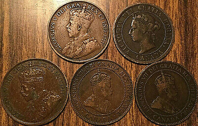 1901 1904 1910 1913 1916 Canada Large Cents 1 Cent Penny Lot Of 5 Coins