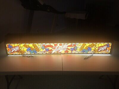 Vintage Milwaukee Schlitz Beer Billiard Pool Light 1960's Stained Glass Style