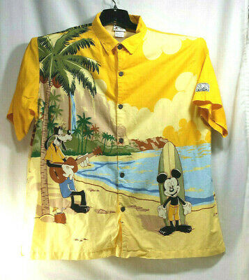 58226cf1b Mickey Hawaiian Camp Shirt Disney WDW Hang Loose Beach Surf XXL Button Top  Goofy