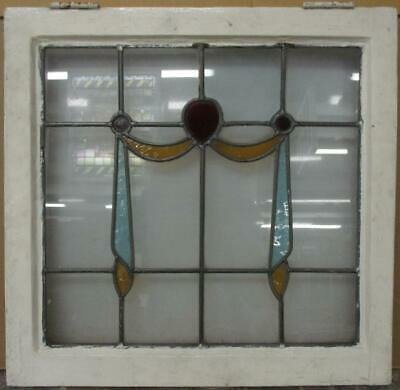 "OLD ENGLISH LEADED STAINED GLASS WINDOW Pretty Swag Design 20.75"" x 20.25"""