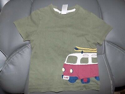 Janie and Jack Olive Green W/Van Short Sleeve Shirt Size 18/24 Months Boy's EUC