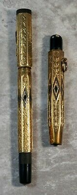 Rare 14K Yellow Gold Kurt Gimble Ludwigshafen Pen Pencil Etched Set