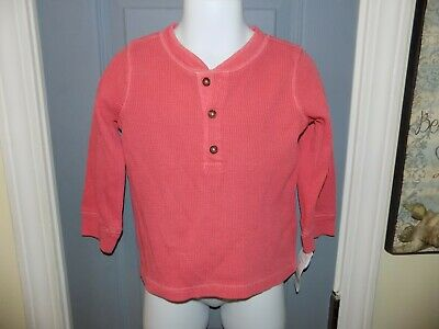 Carter's Coral Thermal Henley Long Sleeve Pullover Shirt Size 18 Months Boy's