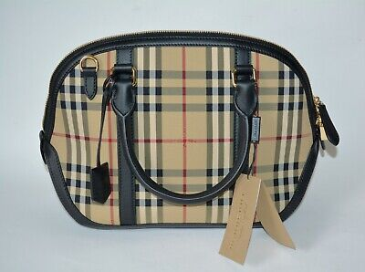 a064f2452741 Nwt Burberry Womens Check Orchard Bowling Bag Canvas Leather Tote Purse Bag