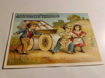 J. &P. Coats' Thread  antique  trade card- children pulling card of spools