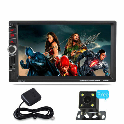 "Android 7.1 BT Car Stereo MP3 Player 2DIN 7"" In Dash GPS Wifi + Rearview Camera"