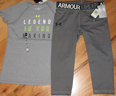 Under Armour Legend In The Making top & cropped capris leggings NWT girls' M YMD