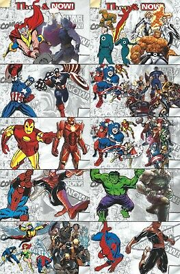 "2014 Upper Deck Marvel Now! Completo 10 Carta "" Then & Now !"" Inserto Juego"