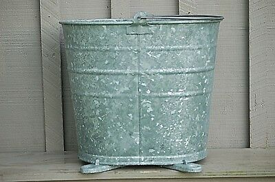 NEW Galvanized Footed Mop Bucket Base Steampunk Art Water Lawn Garden Flower Pot