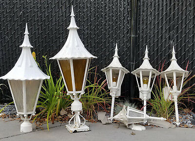 Lot Of 5 Outdoor Vintage Sconce Lamps Post Lights Coach Fixtures