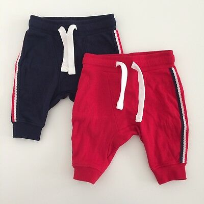 Baby Boys NEXT Navy Red Jersey Trousers Two Pack Set Size 3-6 Months
