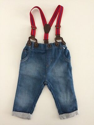 Baby Boys NEXT Soft Blue Denim Red Suspender Jeans Size 6-9 Months
