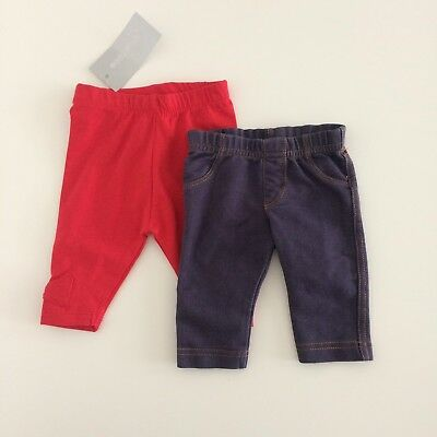 Two Pairs Of Baby Girls Leggings Blue Denim And Red Size Newborn