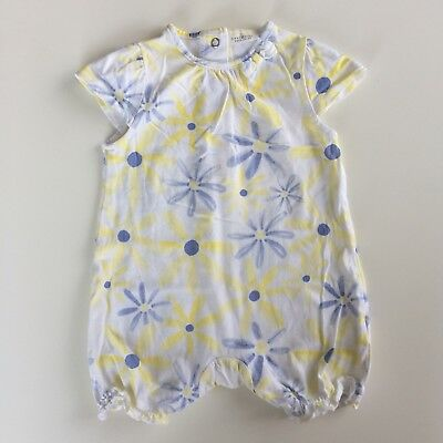 Baby Girls NEXT White Yellow Floral Jersey Romper Playsuit Size 3-6 Months