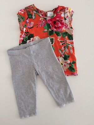 Girls NEXT Floral Top And H&M Grey Leggings Outfit Size 2-3 Years