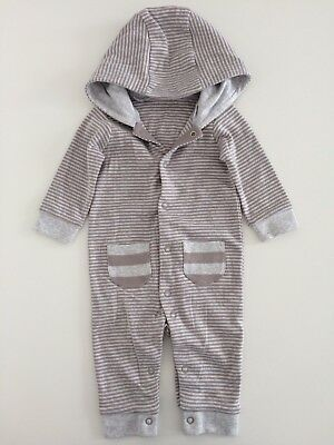 Baby Boys Girls MOTHERCARE Grey Striped Hooded Romper Playsuit Size 0-3 Months