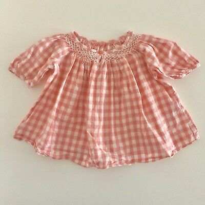Baby Girls M&S Powder Pink Checked Vintage Style Dress Size 3-6 Months