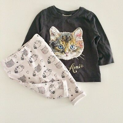 Baby Girls Brown Cat Top And Cream Leggings Outfit Size 3-6 Months