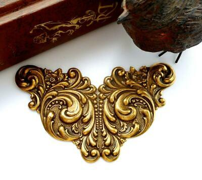 ANTIQUE BRASS Art Nouveau Scroll Cartouche Flower Stamping Oxidized (C-809)