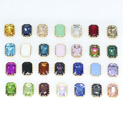 All-size Rectangle sew on crystal glass rhinestone lacy claw 4-Hole button Beads
