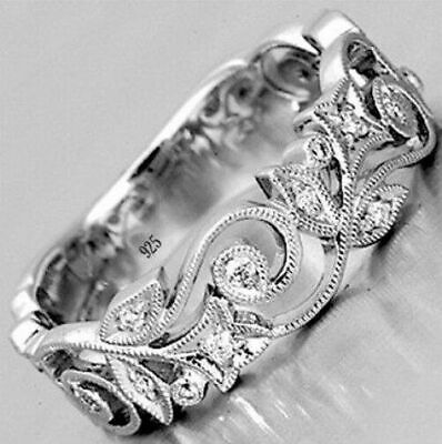 Natural 0.56Ct White Topaz Silver Plated Flower Wedding Engagement Ring Sz 5-11