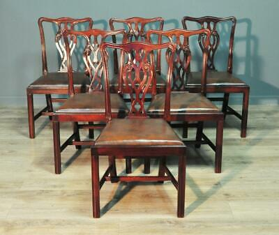 Set Of Six 6 Vintage Chippendale Style Mahogany Dining Chairs, Leather Pads