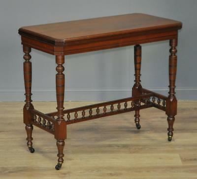 Attractive Antique Edwardian Walnut Turn Over Card Games Hall Table