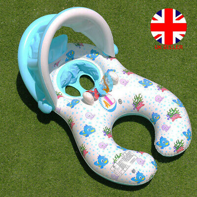 Inflatable Mother Baby Swim Ring Float Raft Kids Seat Swimming Pool Sun Cover UK