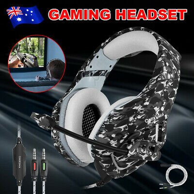 Camo ONIKUMA K1 Mic Stereo Bass Gaming Headset for Laptop PS4 Xbox One AU STOCK