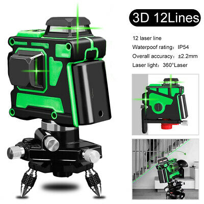 360° Rotary 3D Green Laser Level 12 Lines Self Leveling Cross Measure Tool Kits