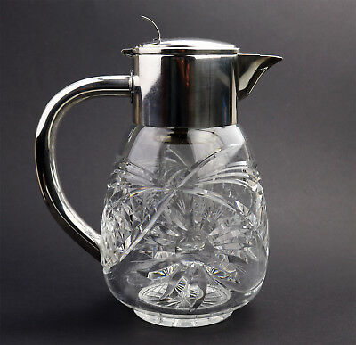 Antique Silver Plate : An attractive WMF deep cut glass Lemonade Jug C.1935+