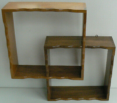 Vintage Small Wooden Wall Shelf Wot Not Trinket Mid Century 28 cm Square Shelves