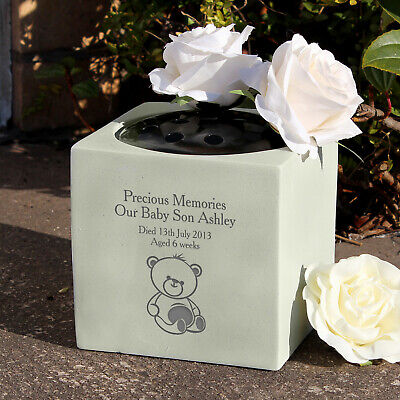 Personalised Teddy Bear Grave Flower Bowl Holder Memorial Cemetery Vase Child