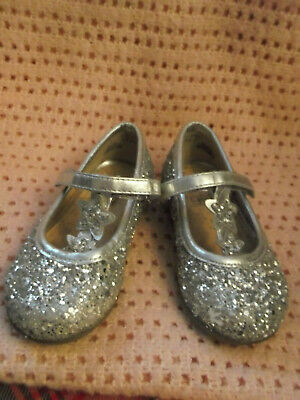 Girls Sparkly Silver Shoes - Size 6 (Infants)