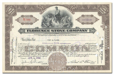 Florence Stove Company Stock Certificate