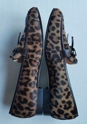 dd51067d99c2 J Crew Collection Women Academy Calf Hair LEOPARD Loafers Size 7.5