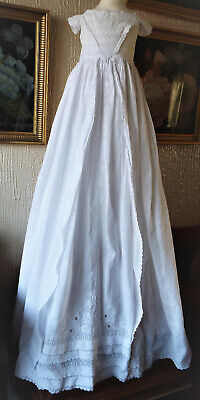 Antique Ayrshire Embroidered  Baby Christening Gown