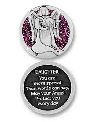 COMPANION COIN DAUGHTER ANGEL W Message, Prayer or Reading, 34mm Diameter, Metal